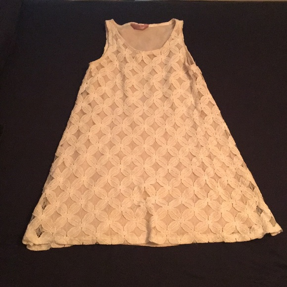 2c85a722a Dresses | Cream Colored Lace Dress Tan Under Layer | Poshmark